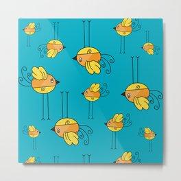 Teal Designer Bird Metal Print