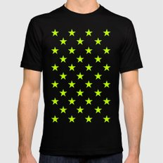 Stars (Lime/White) MEDIUM Mens Fitted Tee Black