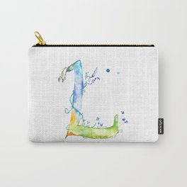 Letter L watercolor - Watercolor Monogram - Watercolor typography - Floral lettering Carry-All Pouch