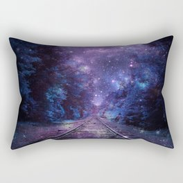 TRAIN tracks Purple Blue Rectangular Pillow