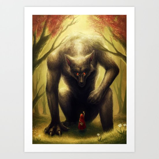 """""""Little Red and the BIG Bad Wolf"""" Art Print"""
