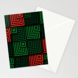 Red and green tiles with op art squares and corners Stationery Cards