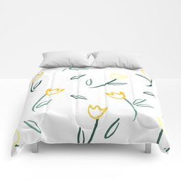 Yellow Tulips Comforters