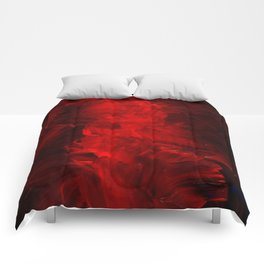 Red Abstract Paint Comforters