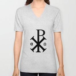 Chi Rho Christian Symbol Unisex V-Neck