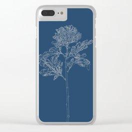 Chrysanthemum Blueprint Clear iPhone Case