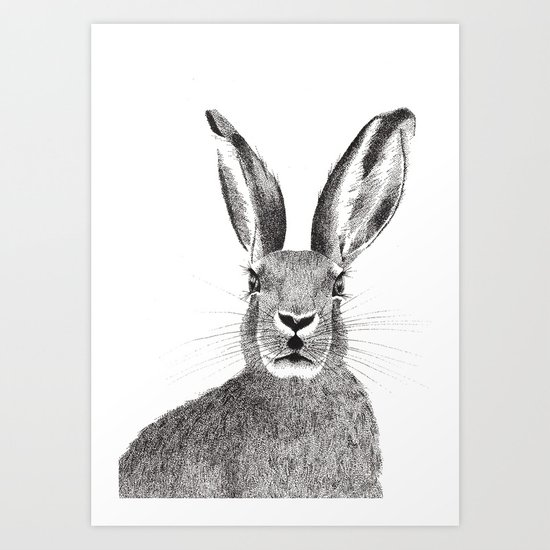 'The March Hare' stippling drawing Art Print
