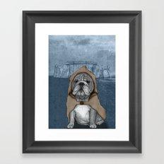 English Bulldog in Stonehenge Framed Art Print