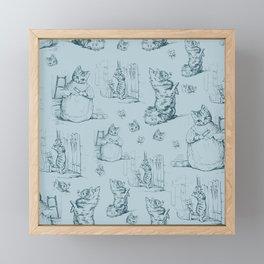 Madame Kitty and her pooch - Beatrix Potter vintage pattern design Framed Mini Art Print
