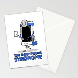 funny syndrome with a smartphone in a doctor's costume Stationery Cards
