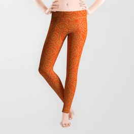 Orange and Gold Bandhani Bandhej Indian Textile Design Leggings