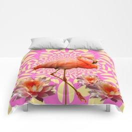 Pink & Cream Flamingo Water lilies Optical Art Comforters