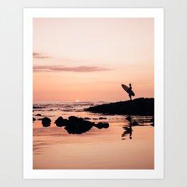 Sunset Surf Reflection Art Print
