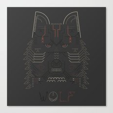 Wolf line illustration Canvas Print