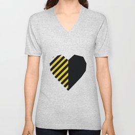 Yellow Love Heart Unisex V-Neck