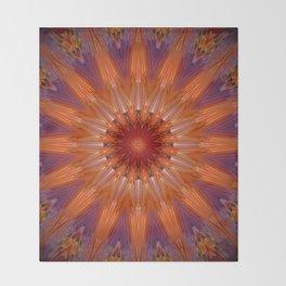 Vibrant Purple Orange Mandala Design Throw Blanket