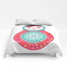 dolls matryoshka, pink and blue colors Comforters