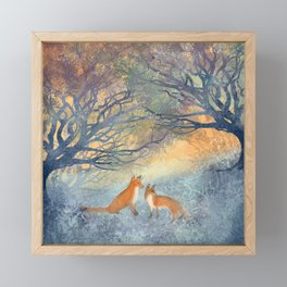 The Two Foxes Framed Mini Art Print