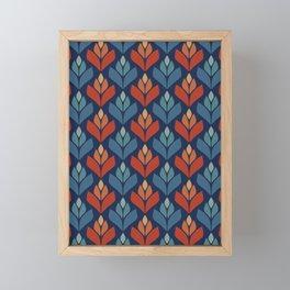 Blue & Red Retro Trefoil Pattern Framed Mini Art Print