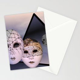 encounter with venetian masks Stationery Cards