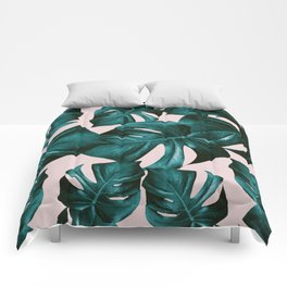 Monstera Leaves Pattern #4 #tropical #decor #art #society6 Comforters