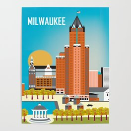 Milwaukee, Wisconsin - Skyline Illustration by Loose Petals Poster