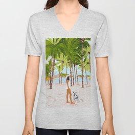 The Happy Spots, Dalmatian Dog Pets, Bohemian Woman Beach Tropical Palm Fashion Illustration Unisex V-Neck