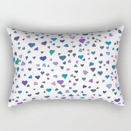 Purple & Blue Hearts Rectangular Pillow