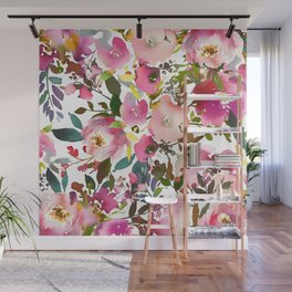 Pink coral forest green watercolor floral Wall Mural