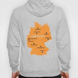 Germany Map Berlin Dusseldorf Frankfurt Munich Hoody