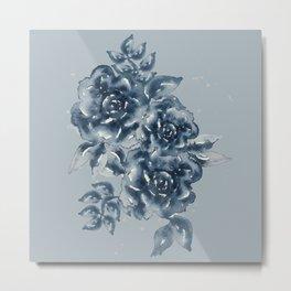 Navy Monochromatic Roses Metal Print