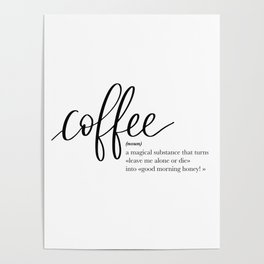 Coffee Quote Definition Poster