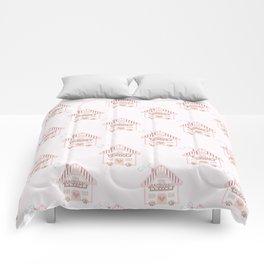 Cute little house cross stitch - light pink Comforters