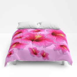 GIRLY TROPICAL PINK HIBISCUS ART Comforters