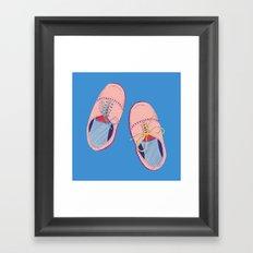 Polka dot shoes on blue Framed Art Print