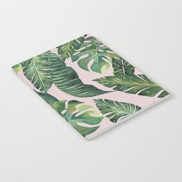 Jungle Leaves, Banana, Monstera Pink #society6 Notebook