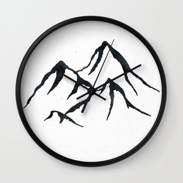 MOUNTAINS Black and White Wall Clock