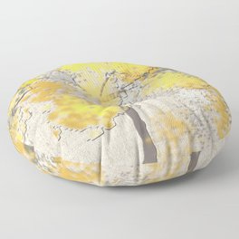 Abstract Yellow and Gray Trees Floor Pillow
