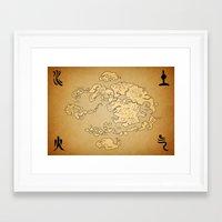 avatar the last airbender Framed Art Prints featuring Avatar Last Airbender Map by KewlZidane