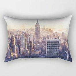 New York City Watercolor Skyline Rectangular Pillow