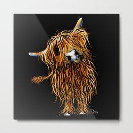 HIGHLAND COW PRINTS of Original SCOTTISH Painting  'CoooWeee on BLaCK ' SHIRLEY MACARTHUR Metal Print