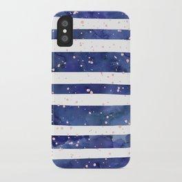Navy blue watercolor stripes blush pink splatters iPhone Case