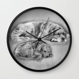 Golden Retriever young and old Wall Clock