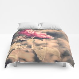 Hope (Hibiscus Pink Rose with Inspirational Quote) Comforters