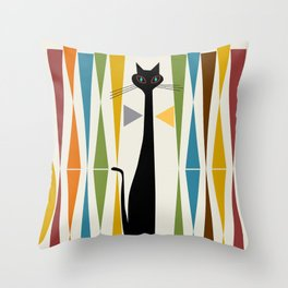 Mid-Century Modern Art Cat 2 Throw Pillow