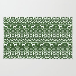 Airedale terrier fair isle silhouette christmas sweater green and white holiday dog gifts Rug