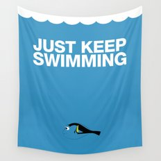 Just Keep Swimming Wall Tapestry