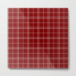 Large Dark Christmas Candy Apple Red Plaid Check with White Metal Print