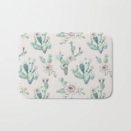 Pretty Cactus Rose Pattern Pale Pink + Green Bath Mat