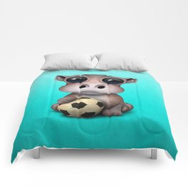 Cute Baby Hippo With Football Soccer Ball Comforters